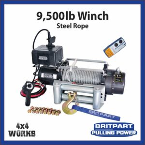 Britpart 9500lb Electric Winch Kit with Steel Rope Fairlead Remote Control