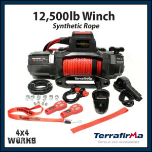 Terrafirma 12,500lb Electric Winch Kit with Synthetic Rope Fairlead Remote Control